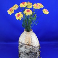 Spalted Birch Vase with Maple Flowers