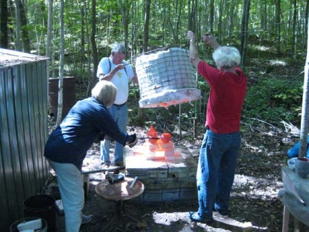 Lillian during a Raku Firing