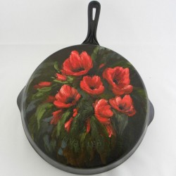 Maud Skoog painting on cast iron Frying Pan